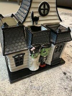 Slatkin Halloween Haunted House 2012 Frankenstein & His Bride 3 Tier Candle RARE
