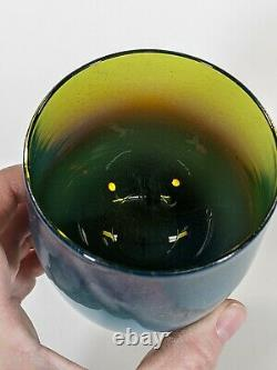 Sold Out Glassybaby HUDSON votive candle holder Translucent Blue Green Amber