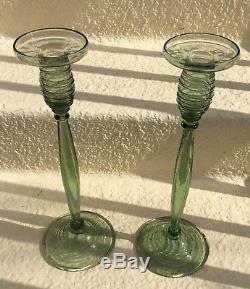 Steuben Art Glass 14 1/4 Spanish Green Candlesticks