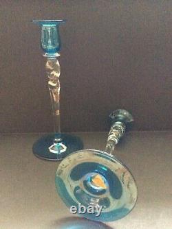 Steuben Celeste Blue & Clear 9 7/8 Candlesticks