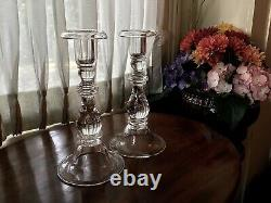 Steuben Glass Teardrop 9 Balustrade Candlesticks (2) Design by F. B Sellew 1937