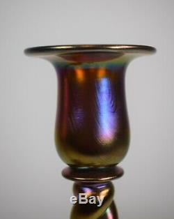 Steuben Gold Aurene Candlesticks, Hand Blown, Circa 1920, Shape # 686