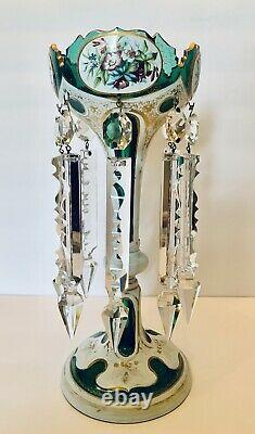 Stunning 1880's Moser Bohemian Overlay Glass Luster Candle Holder Spear Prisms