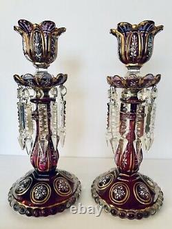 Stunning Antq French Baccarat Glass Lusters Candelabra Candlesticks Spear Prisms