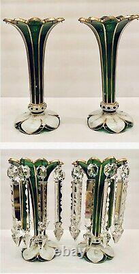 Stunning Antq Moser Bohemian Glass Mantle Lusters Lustres Candle Holder Prisms
