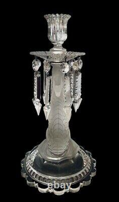 Stunning Baccarat Figural Dauphin Glass Candlestick Candle Holder Lusters Prisms