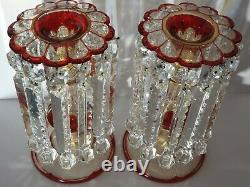 Stunning Lge Pair of Early 19thc Crystal Candle Lustres Gilded Decor c1840