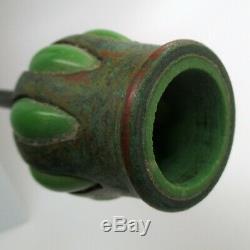 TALL Antique TIFFANY STUDIOS Candlestick BRONZE Green Glass NOUVEAU Arrts Crafts