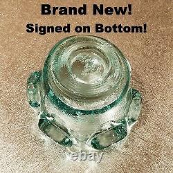 TRULY BRAND NEW & SIGNED! Aqua Splash Votive Fire and Light Glass