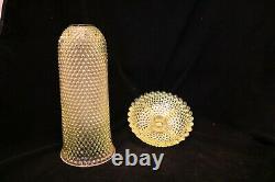 TS Victorian EAPG Vaseline Thousand Eye Giant Fairy Lamp Candle Holder