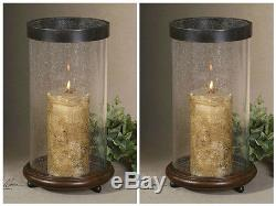 TWO ANTIQUED BROWN WOOD CANDLE HOLDERS GLASS HURRICANES METAL TRIM RUSTIC