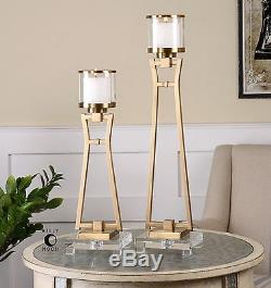 Two Antiqued Gold Candleholders Crystal Foot Pillar Candle Sticks Glass Globes