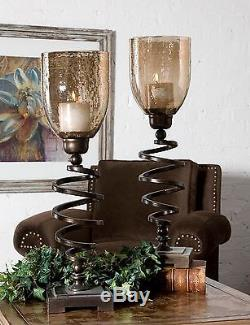 Two Large Candleholders Antiqued Bronze Twisted Metal Copper Brown Glass Candles