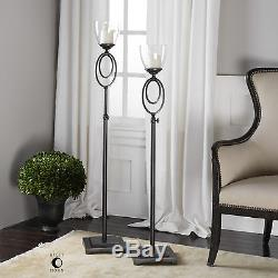 Two Large Rich Oil Rubbed Bronze Metal Floor Candle Holder Glass Hurricane Tops