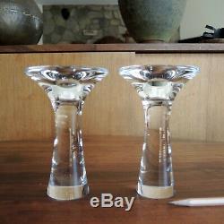 Tapio Wirkkala Pair Candlesticks # 3412 Mid-Century Iittala Modern Glass Finland