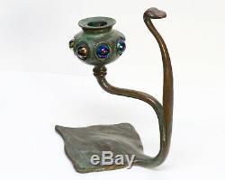 Tiffany Studios Bronze Iridescent Glass Cobra-Shaped Candlestick