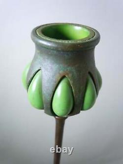 Tiffany Studios Patinated Bronze Green Favrile Art Glass Candlestick