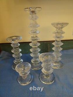 Timo Sarpaneva Iittala Festivo Art Glass Candlesticks, Set 5 8 6 4 2 1 Finland