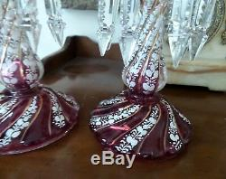Two Antique Cranberry Color Lustres Handpainted Enamel 4 Double Crystals