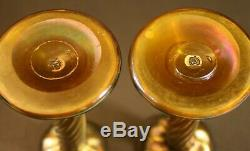 Two Early 1900's Signed LCT Tiffany Studios Favrile Candlestick withpaper label