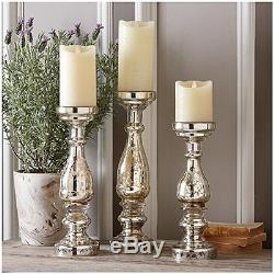 Twos Company Pentimento Silver Mercury Glass Pillar Candleholders Set of 3