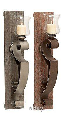 UMAE-97012-Deco 79 Wood Metal Glass Candle Holder, 2 Assorted, 7 by 32
