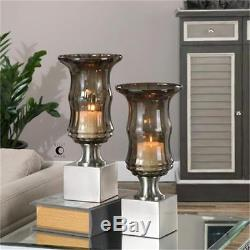 Uttermost 19998 Araby Smoked Glass Candleholders, Set of 2