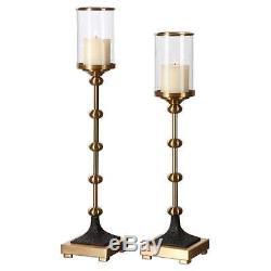 Uttermost 20001 Santona Brass Candleholders, Set Of 2