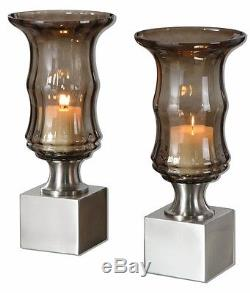 Uttermost Araby Modern Smoked Glass Candleholders (Set of 2)