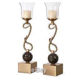 Uttermost Attila Coffee Bronze Candleholders (Set of 2) Candle Holder / Lantern