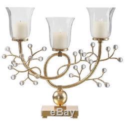 Uttermost Bede Metallic Gold Candelabra Transitional Candle Holder / Lantern