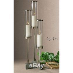 Uttermost Risto Brushed Aluminum Candleholder Candle Holder / Lantern