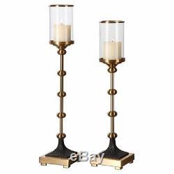 Uttermost Santona Modern Brass Candleholders (Set of 2)