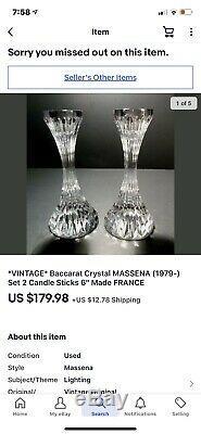 VINTAGE Baccarat Crystal MASSENA (1979-) Set 2 Candle Sticks 6 Made FRANCE