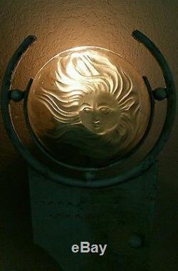 Vtg. Folk Art Glass Moonface Woman & Solid Steel Art Deco Frame Candle Holder