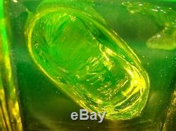 Vaseline uranium Dolphin glass candlestick holders by imperial marked m. M. A