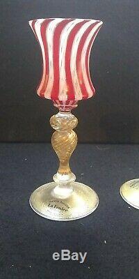 Venetian MURANO Art Glass Candlestick pair one red one blue gold adventurrine