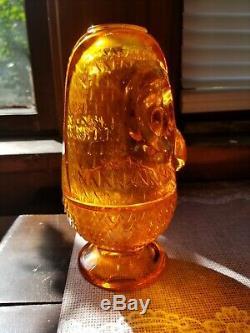 Viking Orange Owl Fairy Lamp Glimmer Glass Candle Holder