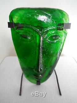 Vintage 1970s Art-Glass Face Mask Wall Candle Holder