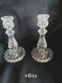 Vintage Antique Baccarat Bambous Swirl Candlesticks