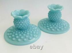 Vintage Aqua Blue Fenton Candle Holders Set of 2 1950s Turquoise Pastel Hobnail