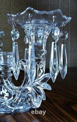 Vintage Art Deco 3 Candle CRYSTAL CANDELABRA w BOBECHES & 16 CRYSTAL PRISMS