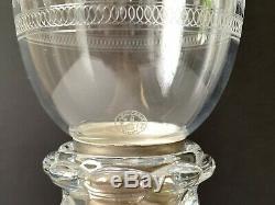 Vintage Baccarat Etched Fleur-de-lis Hurricane Shade Candlestick Candelabra