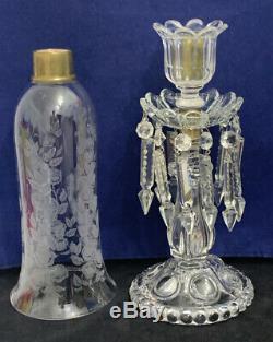 Vintage Baccarat Medallion Hurricane Shade Candlestick Candelabra 21 Tall