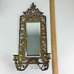Vintage Beveled Glass Mirror Sconce Brass Candle Holders Décor Art Nouveau Gift