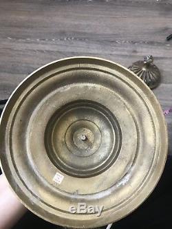Vintage Brass Bubble Glass Ornate Lidded Jar Urn Hollywood Regency 17