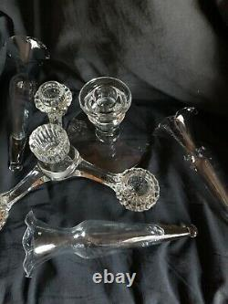 Vintage Cambridge Glass Arms Candlestick Candle Holder 5 Peg Nappy 3 Vases'40s
