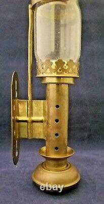 Vintage Candleholders Wall Sconce Lantern Brass Glass Hurricane Shade Set of 2
