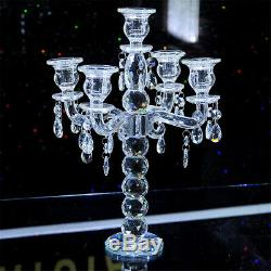 Vintage Crystal Candelabra Pillar Candle Holder Centerpiece Candlestick 5 Arms