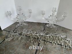 Vintage Crystal Glass Candle Holder Candelabra 3 Arm With Prisms 1930s Vgc